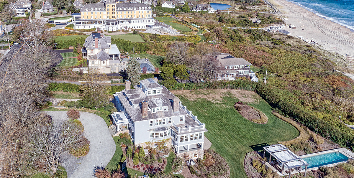 PRIME REAL ESTATE: The oceanfront mansion at 10 Bluff Ave., bottom left, in Westerly's Watch Hill is located a short distance from the iconic beach hotel Ocean House, top left, and pop singer Taylor Swift's vacation home, not pictured. / COURTESY MOTT & CHACE SOTHEBY'S INTERNATIONAL REALTY/PEARL MACEK