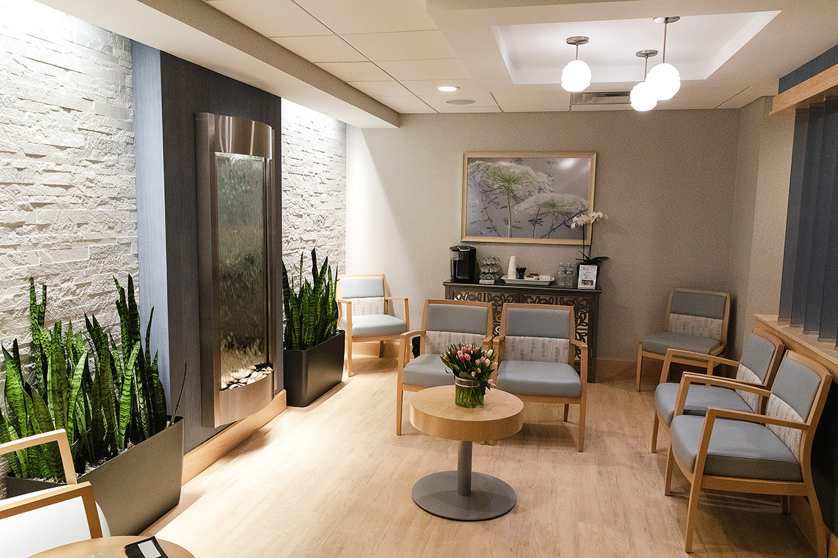 WATERFALL VIEW: The new Breast Imaging Center waiting area is accented by a wall-mounted waterfall. / COURTESY RHODE ISLAND MEDICAL IMAGING INC.